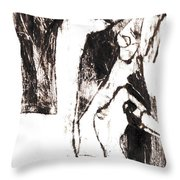 Swans After Mikhail Larionov Black Oil Painting 5 Throw Pillow