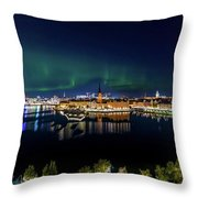 Swirly Aurora Over Stockholm And Gamla Stan Throw Pillow
