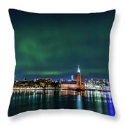 Swirly Aurora Over The Stockholm City Hall And Kungsholmen Throw Pillow