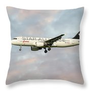 Swiss Star Alliance Livery Airbus A320-214 Throw Pillow