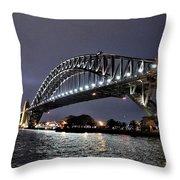 Sydney Harbor Bridge Night View Throw Pillow