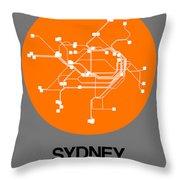 Sydney Orange Subway Map Throw Pillow