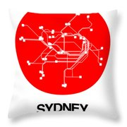 Sydney Red Subway Map Throw Pillow
