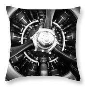 T-28b Trojan Close-up In Bw Throw Pillow by Doug Camara