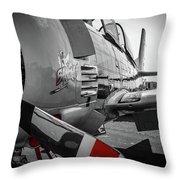 T-28b Trojan In Selective Color Throw Pillow by Doug Camara