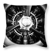T-28b Vertical Close-up In Bw Throw Pillow by Doug Camara