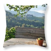 Table At The Vineyard Throw Pillow