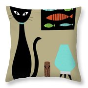 Tabletop Cat With Turquoise Lamp Throw Pillow by Donna Mibus