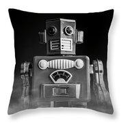 Take Me To Your Leader Vintage Tin Toy Robot Black And White Throw Pillow