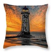 Talacre Beach Lighthouse Sunset Throw Pillow