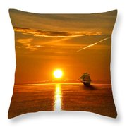 Tall Ships Of The Caribbean Throw Pillow