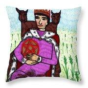 Tarot Of The Younger Self King Of Pentacles Throw Pillow