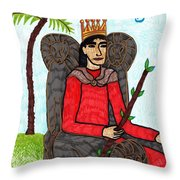 Tarot Of The Younger Self King Of Wands Throw Pillow