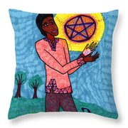 Tarot Of The Younger Self Page Of Pentacles Throw Pillow