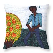 Tarot Of The Younger Self Seven Of Pentacles Throw Pillow
