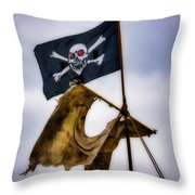 Tattered Sail And Pirate Flag Throw Pillow