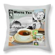 Tea Collage With Brush  Throw Pillow