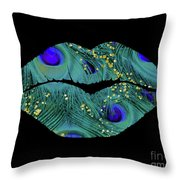 Teal Peacock Lips Kissing Mouth Fashion Art Throw Pillow