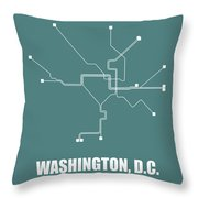 Teal Washington, D.c. Subway Map Throw Pillow