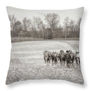 Team Of Six Horses Tilling The Fields Throw Pillow