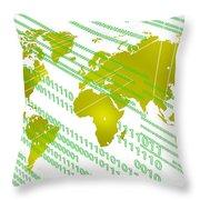 Tech Worldmap With Binary Code Throw Pillow