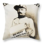 Teddy The Rough Rider - For President - 1904 Throw Pillow