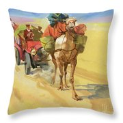 Ten Thousand Mile Motor Race Camel Train Throw Pillow