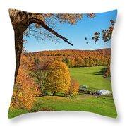 Tending To The Farm Woodstock Vermont Vt Vibrant Autumn Foliage Yellow And Orange Throw Pillow