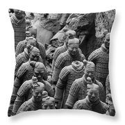 Terra Cotta Warriors In Black And White, Xian, China Throw Pillow