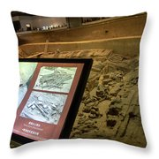 Terra Cotta Warriors In Pit 3 Ruins With Diagram Throw Pillow