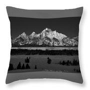 Teton Monochrome Moon-set  Throw Pillow