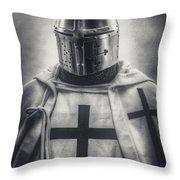 Teutonic Knight Black And White Throw Pillow