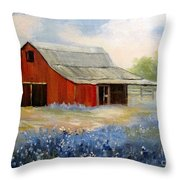 Texas Blue Bonnets And Red Barn Throw Pillow