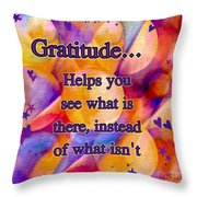 Text Art Gratitude Throw Pillow