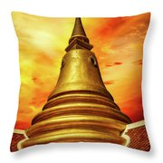 Thai Temple Sunset Throw Pillow by Adrian Evans
