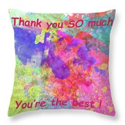 Thank You So Much Hibiscus Abstract Throw Pillow
