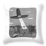 Thanksgiving Aliens Throw Pillow