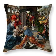 The Adoration Of The Magi With Donor  Throw Pillow