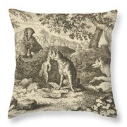 The Badger Hurries To Warn Renard Of The Lion's Intention Throw Pillow