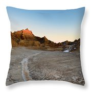 The Badlands And A Sunrise Throw Pillow