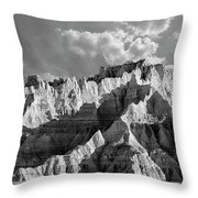 The Badlands In Black And White Throw Pillow
