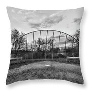 The Baseball Field Black And White Throw Pillow
