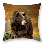 The Bear Went Over The Mountain Throw Pillow by Lois Bryan