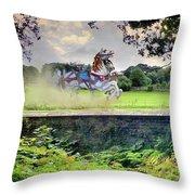 The Carousel Horses Escaping Throw Pillow