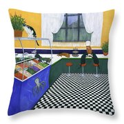 The Cat Cafe Throw Pillow by Karen Zuk Rosenblatt