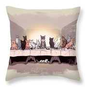 The Cat Supper Throw Pillow