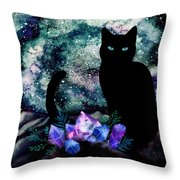 The Cat With Aquamarine Eyes And Celestial Crystals Throw Pillow