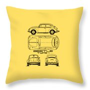 The Classic Beetle Blueprint Throw Pillow