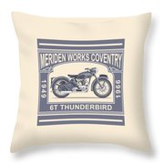 The Classic Thunderbird Motorcycle Throw Pillow