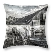 The Cows Came Home Black And White Throw Pillow